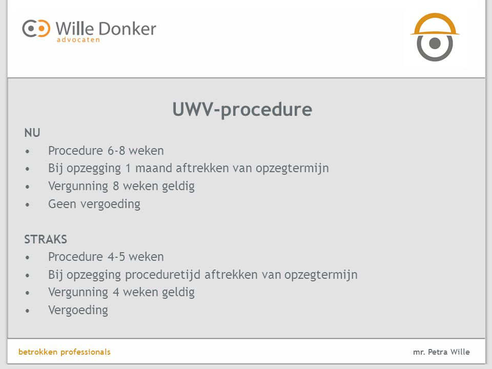 UWV-procedure NU Procedure 6-8 weken