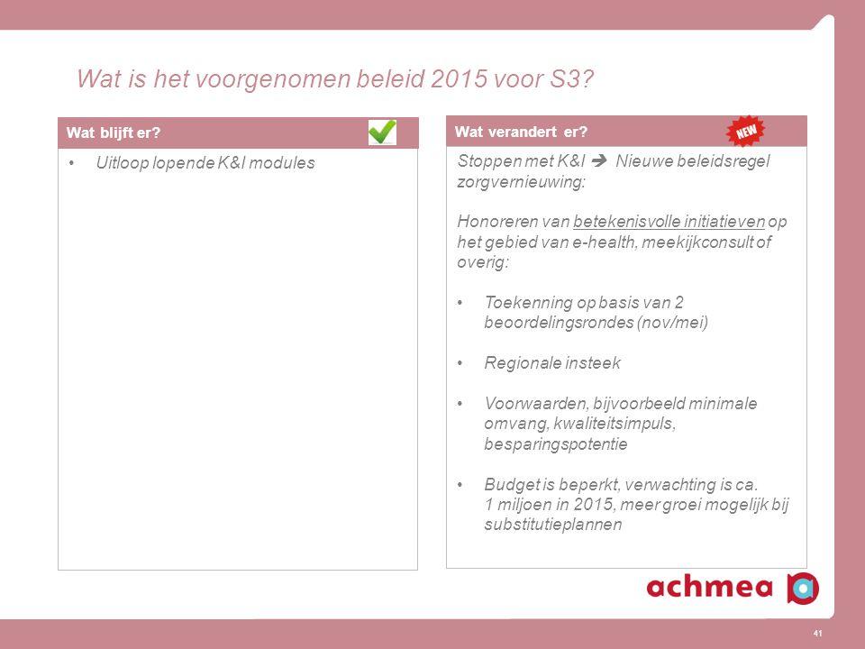 Wat is het voorgenomen beleid 2015 voor S3
