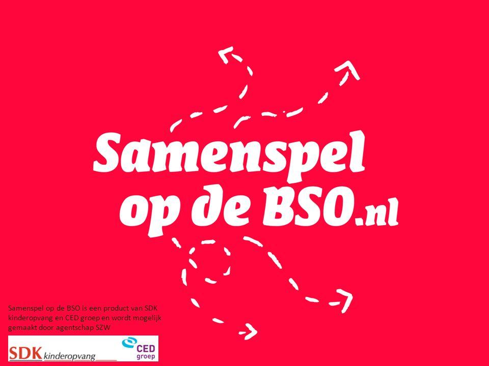 Samenspel op de BSO is een product van SDK kinderopvang en CED groep en wordt mogelijk gemaakt door agentschap SZW