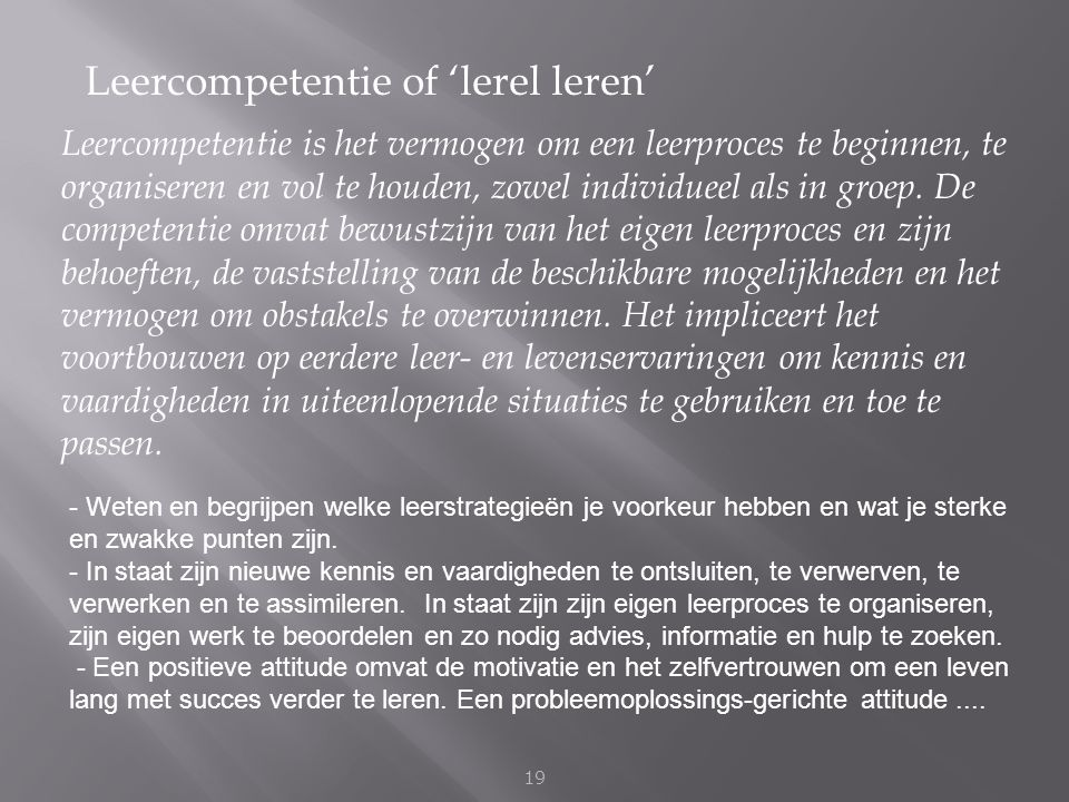 Leercompetentie of 'lerel leren'