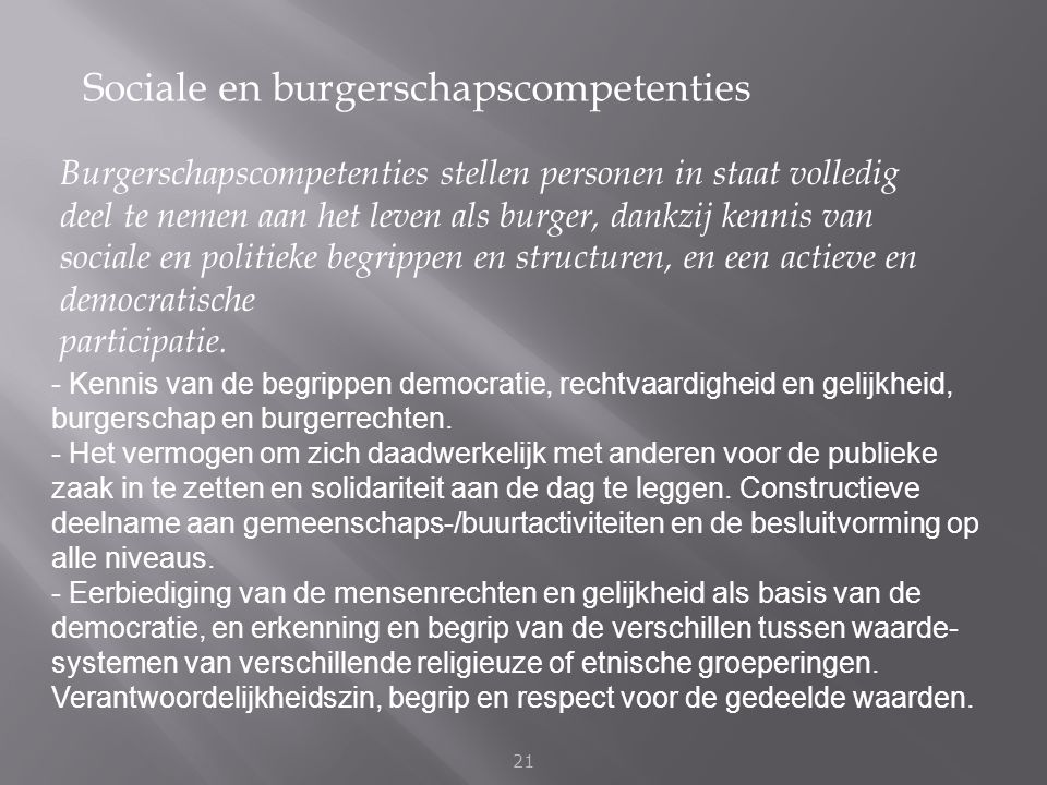 Sociale en burgerschapscompetenties