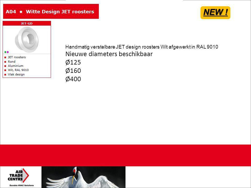 NEW ! Nieuwe diameters beschikbaar Ø125 Ø160 Ø400