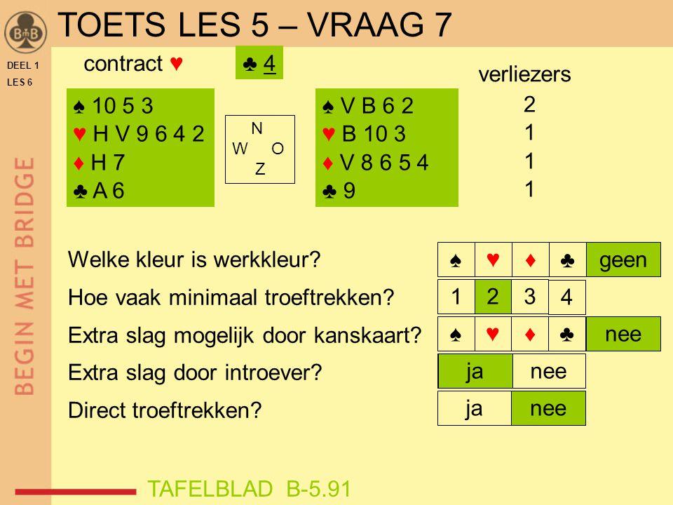 TOETS LES 5 – VRAAG 7 contract ♥ ♣ 4 verliezers ♠ 10 5 3 ♥ H V 9 6 4 2