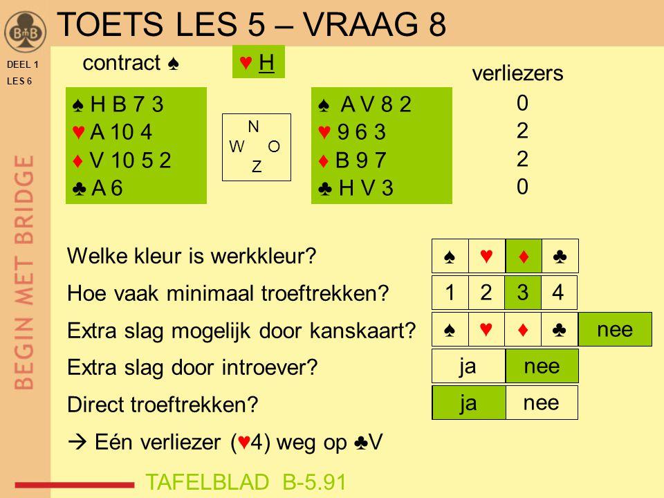 TOETS LES 5 – VRAAG 8 contract ♠ ♥ H verliezers ♠ H B 7 3 ♥ A 10 4