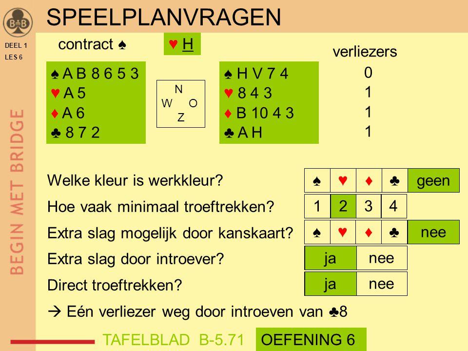 SPEELPLANVRAGEN contract ♠ ♥ H verliezers ♠ A B 8 6 5 3 ♥ A 5 ♦ A 6