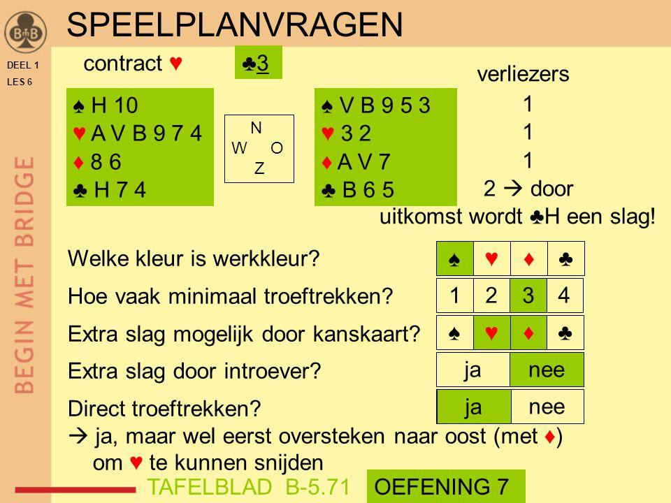 SPEELPLANVRAGEN contract ♥ ♣3 verliezers ♠ H 10 ♥ A V B 9 7 4 ♦ 8 6