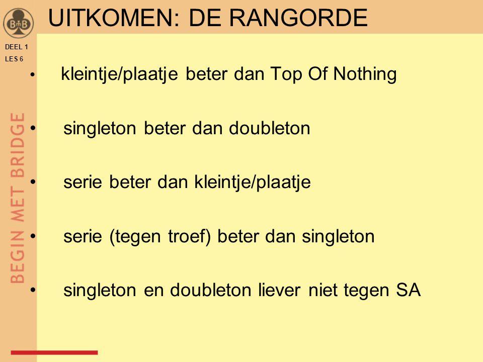 UITKOMEN: DE RANGORDE singleton beter dan doubleton
