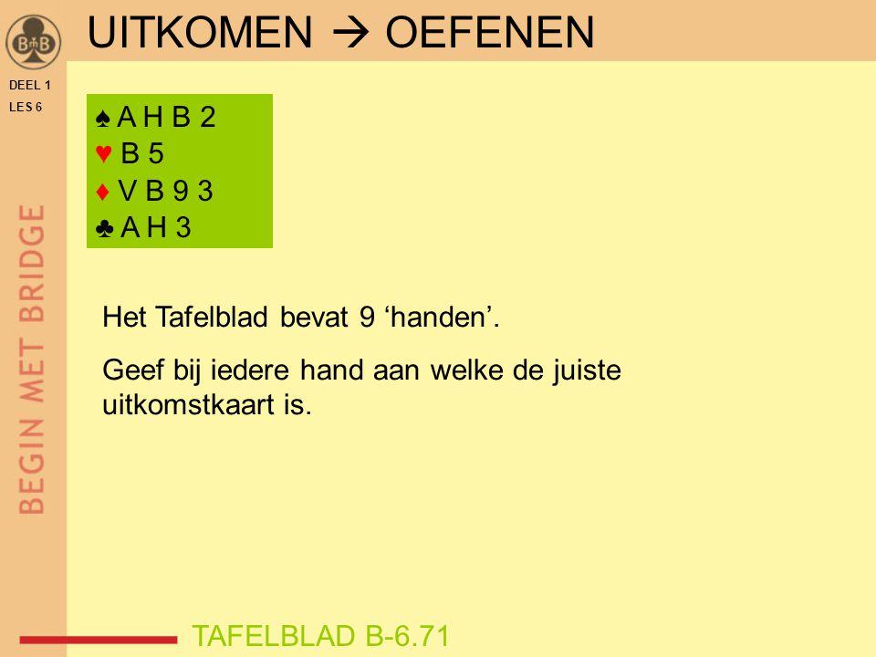 UITKOMEN  OEFENEN ♠ A H B 2 ♥ B 5 ♦ V B 9 3 ♣ A H 3