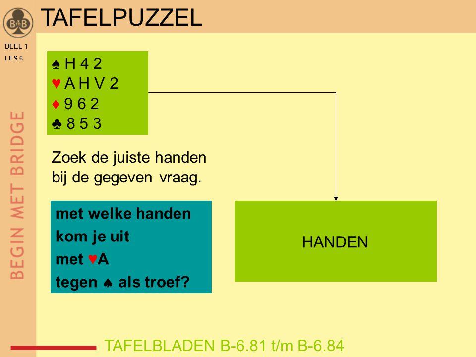 TAFELPUZZEL ♠ H 4 2 ♥ A H V 2 ♦ 9 6 2 ♣ 8 5 3 Zoek de juiste handen