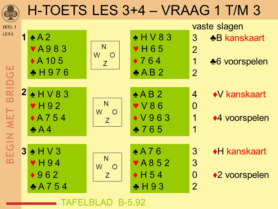 H-TOETS LES 3+4 – VRAAG 1 T/M 3