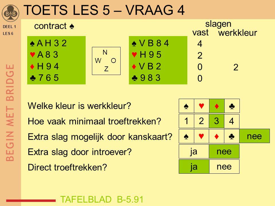 TOETS LES 5 – VRAAG 4 slagen contract ♠ vast 4 2 werkkleur 2 ♠ A H 3 2