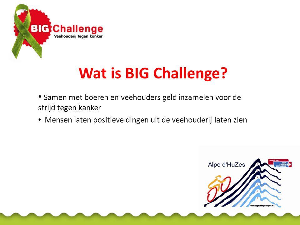 Wat is BIG Challenge Samen met boeren en veehouders geld inzamelen voor de strijd tegen kanker.