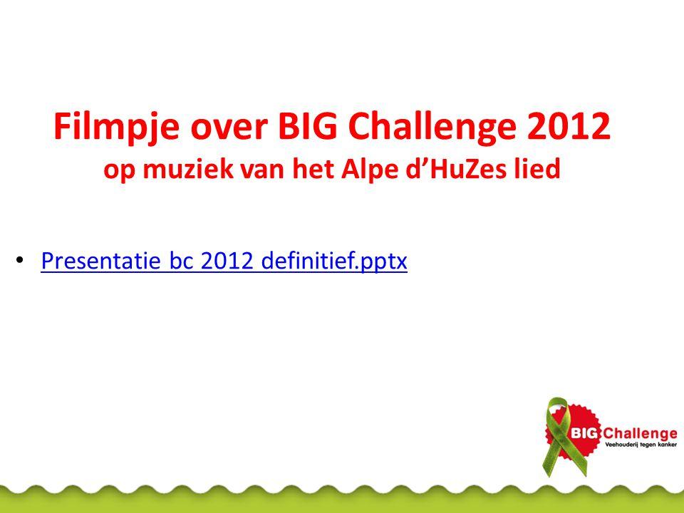 Filmpje over BIG Challenge 2012 op muziek van het Alpe d'HuZes lied