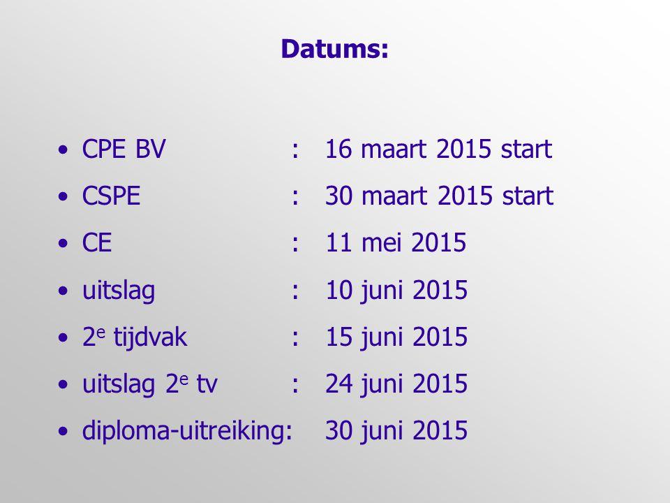 Datums: CPE BV : 16 maart 2015 start. CSPE : 30 maart 2015 start. CE : 11 mei 2015.