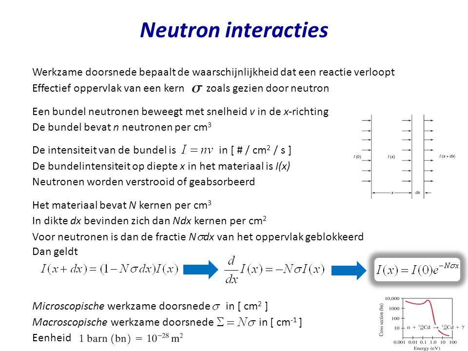 Neutron interacties Werkzame doorsnede bepaalt de waarschijnlijkheid dat een reactie verloopt.