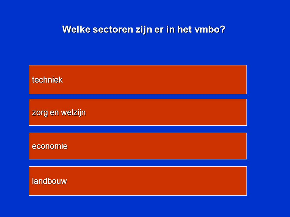 Welke sectoren zijn er in het vmbo