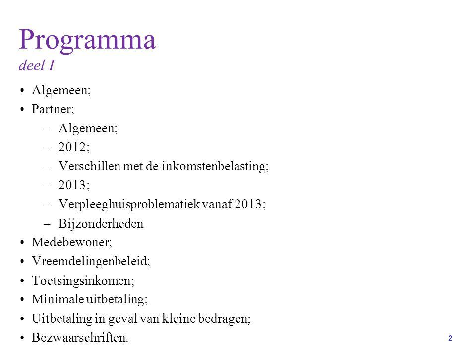 Programma deel I Algemeen; Partner; 2012;
