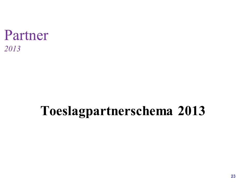 Toeslagpartnerschema 2013