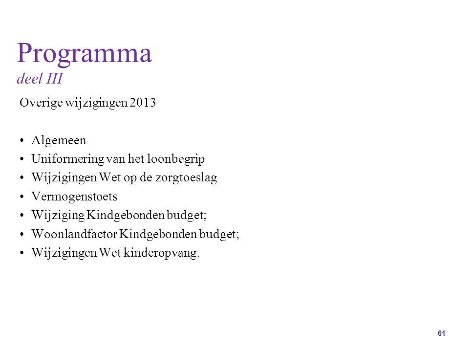 Programma deel III Overige wijzigingen 2013 Algemeen