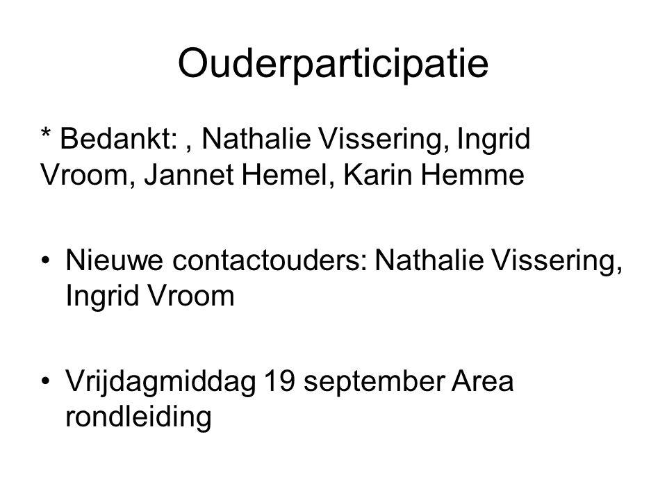 Ouderparticipatie * Bedankt: , Nathalie Vissering, Ingrid Vroom, Jannet Hemel, Karin Hemme. Nieuwe contactouders: Nathalie Vissering, Ingrid Vroom.