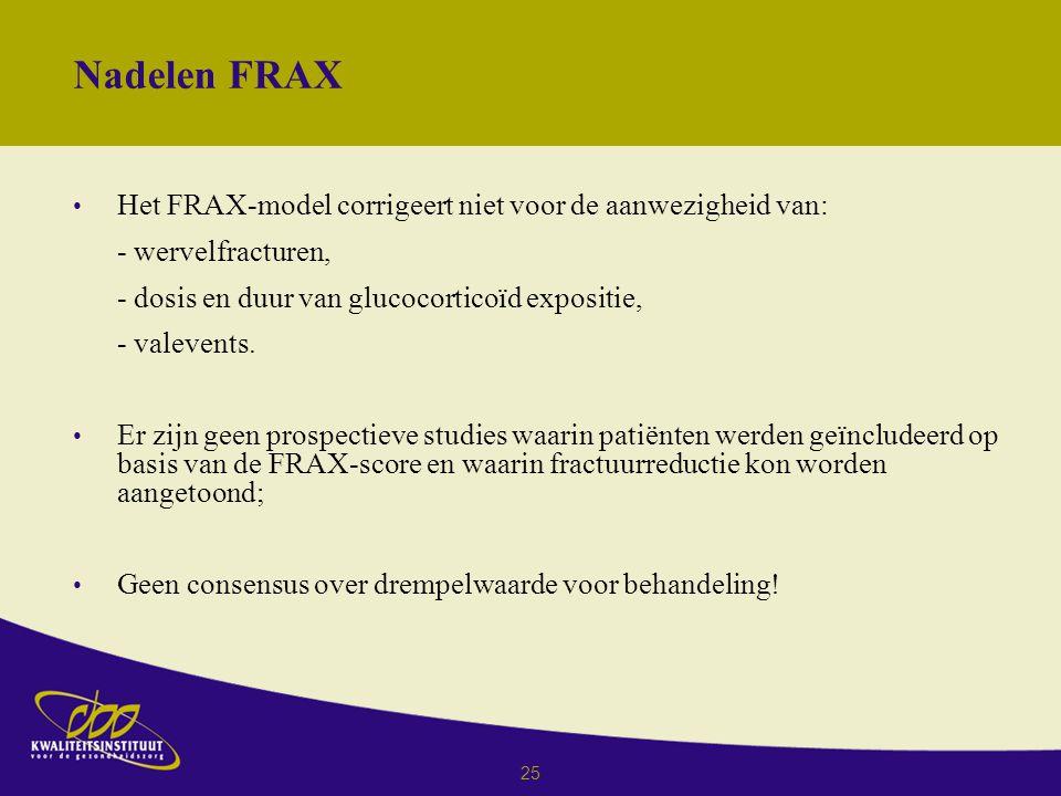 Nadelen FRAX Het FRAX-model corrigeert niet voor de aanwezigheid van: