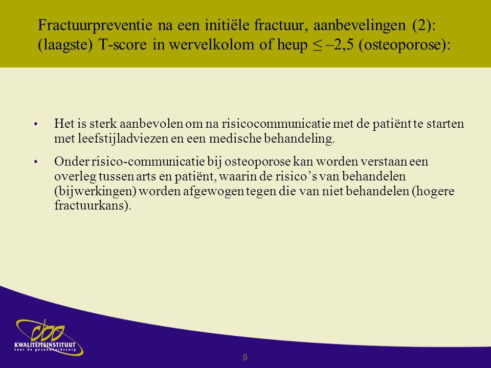 Fractuurpreventie na een initiёle fractuur, aanbevelingen (2): (laagste) T-score in wervelkolom of heup ≤ –2,5 (osteoporose):