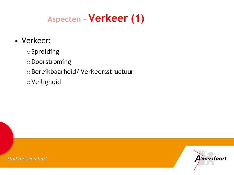 Aspecten – Verkeer (1) Verkeer: Spreiding Doorstroming