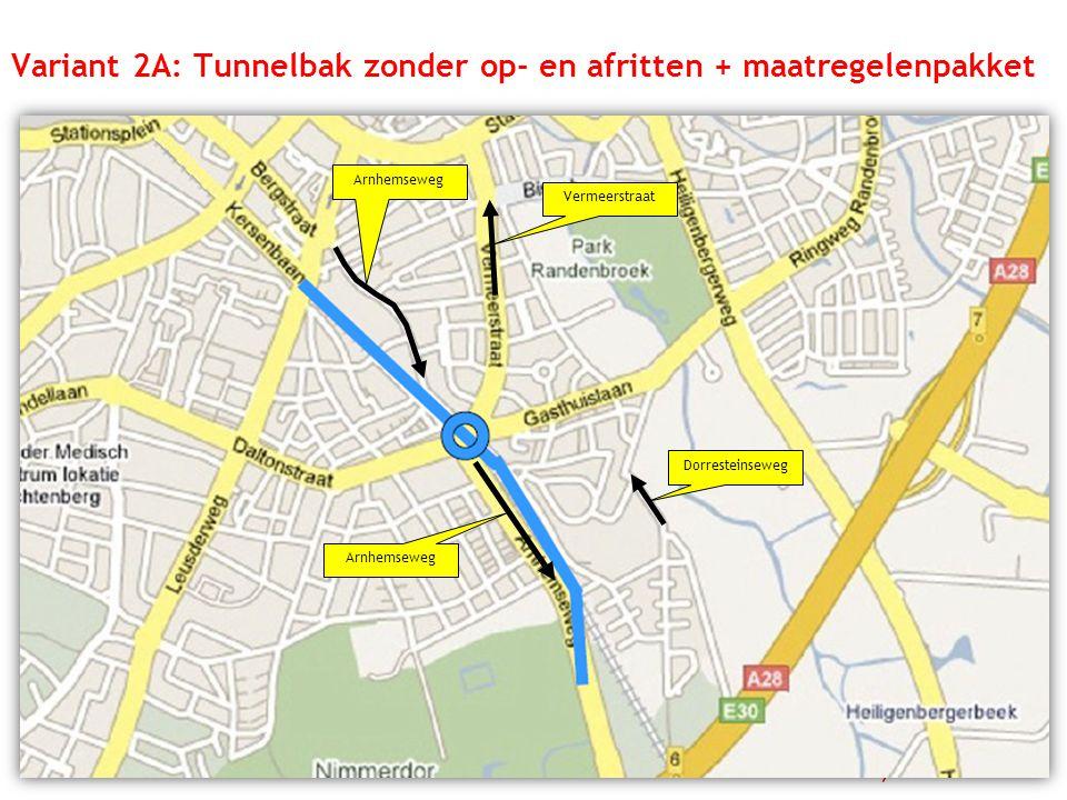 Variant 2A: Tunnelbak zonder op- en afritten + maatregelenpakket