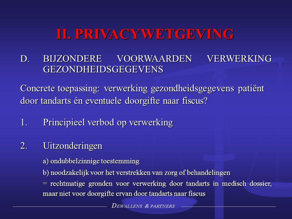 II. PRIVACYWETGEVING BIJZONDERE VOORWAARDEN VERWERKING GEZONDHEIDSGEGEVENS. Concrete toepassing: verwerking gezondheidsgegevens patiënt.