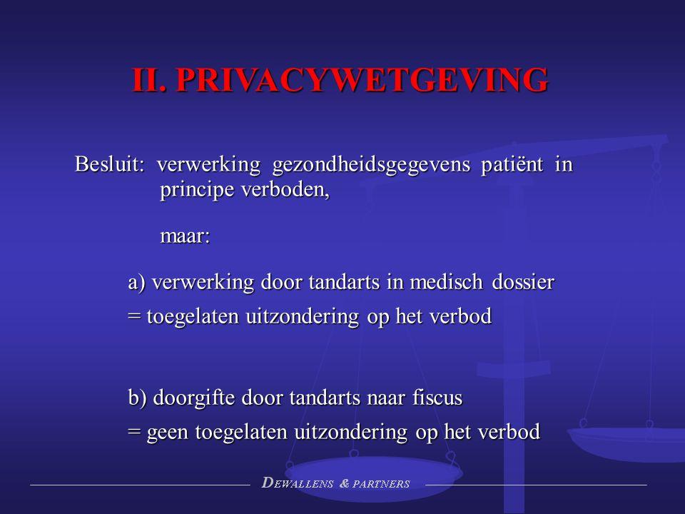 II. PRIVACYWETGEVING Besluit: verwerking gezondheidsgegevens patiënt in principe verboden, maar: