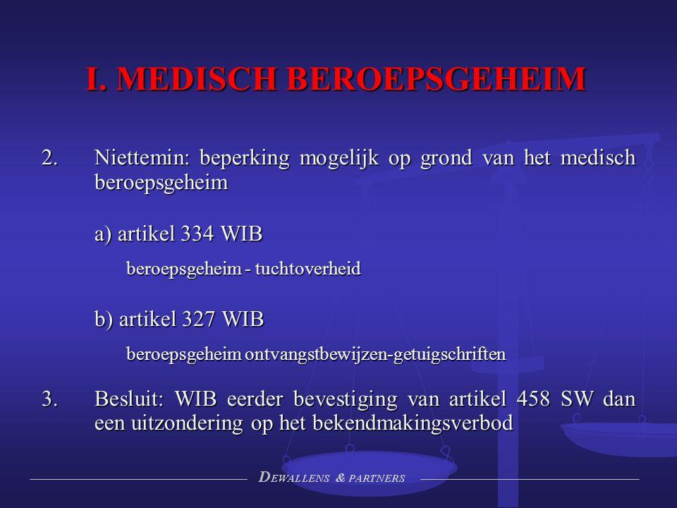 I. MEDISCH BEROEPSGEHEIM