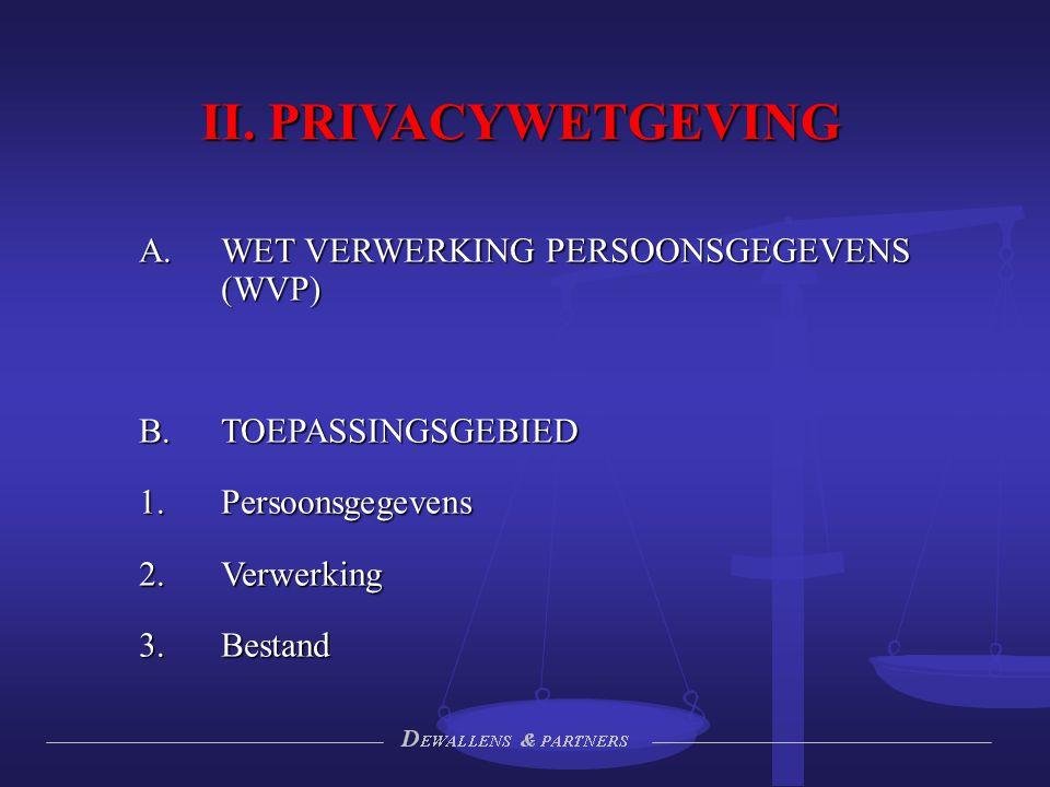 II. PRIVACYWETGEVING WET VERWERKING PERSOONSGEGEVENS (WVP)