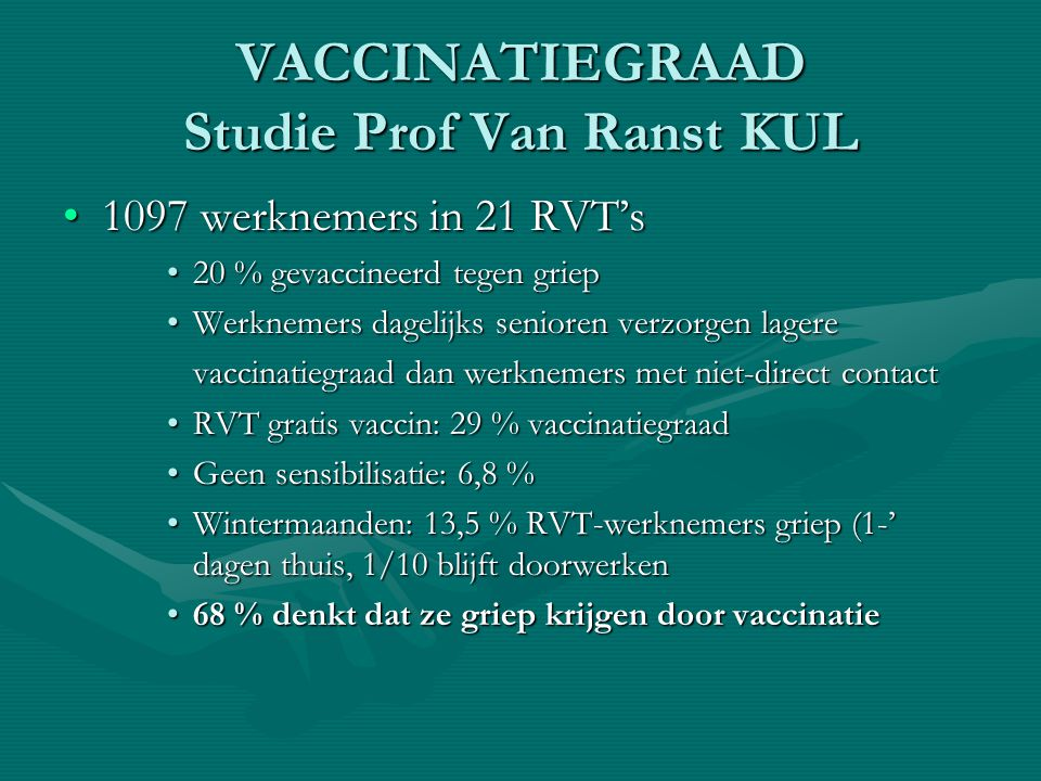 VACCINATIEGRAAD Studie Prof Van Ranst KUL