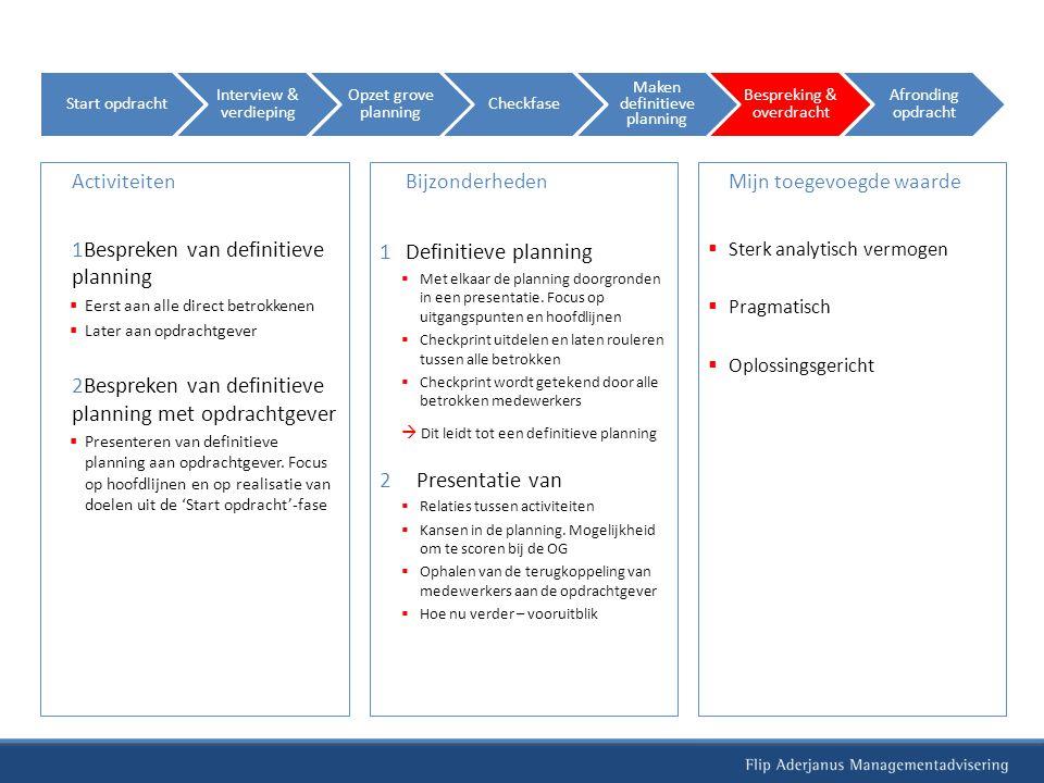Bespreken van definitieve planning