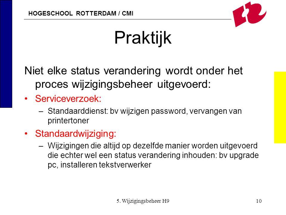 Praktijk Niet elke status verandering wordt onder het proces wijzigingsbeheer uitgevoerd: Serviceverzoek: