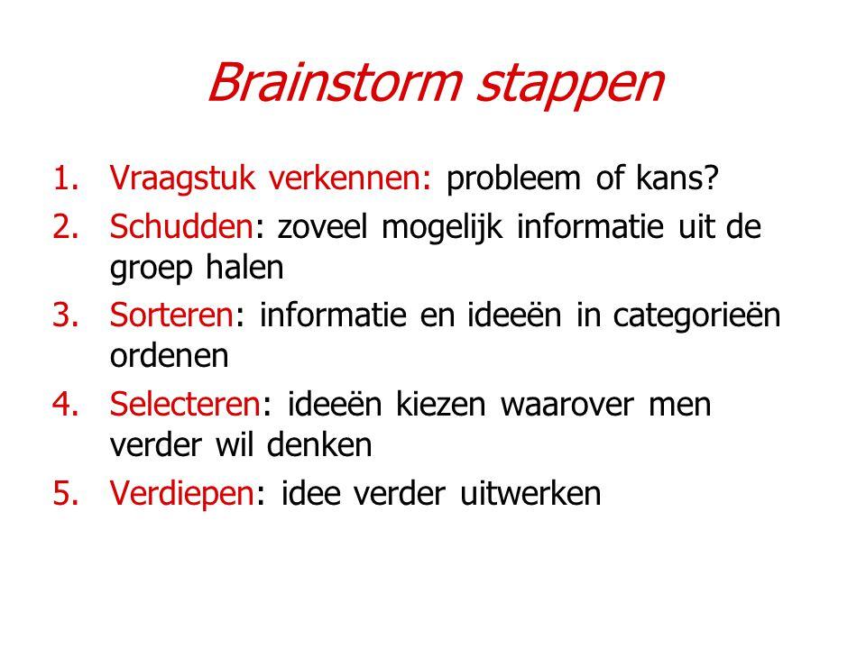 Brainstorm stappen Vraagstuk verkennen: probleem of kans