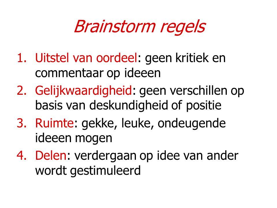 Brainstorm regels Uitstel van oordeel: geen kritiek en commentaar op ideeen.