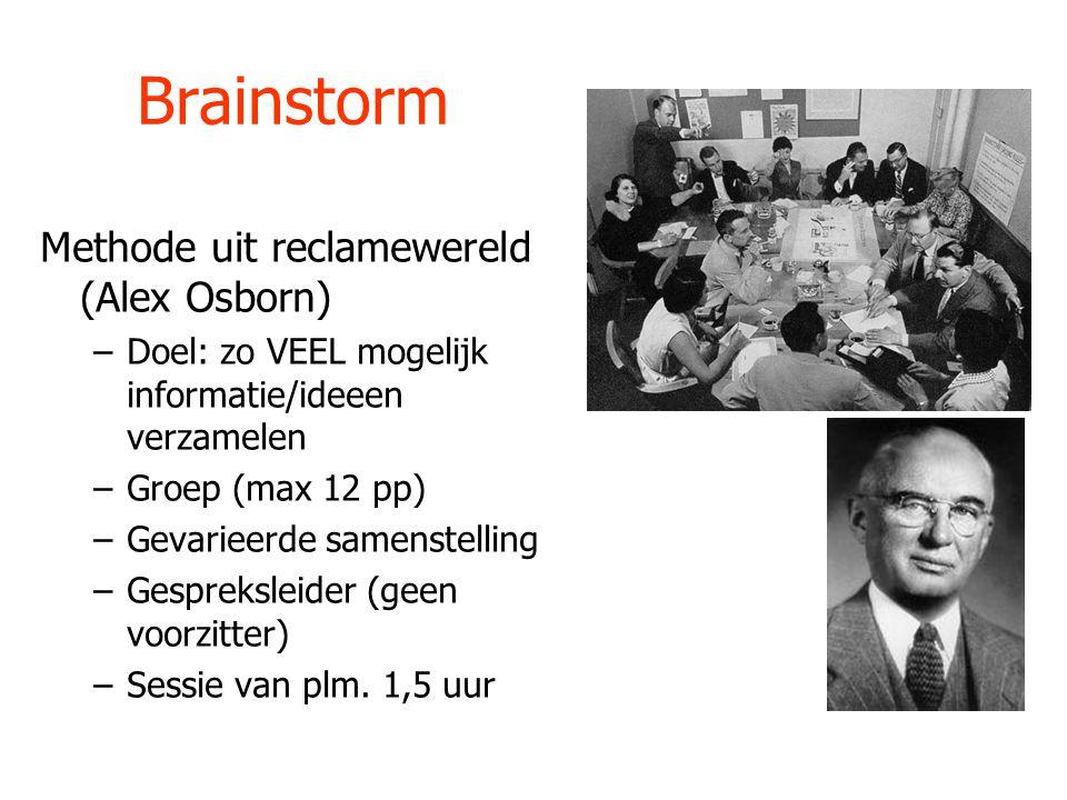 Brainstorm Methode uit reclamewereld (Alex Osborn)