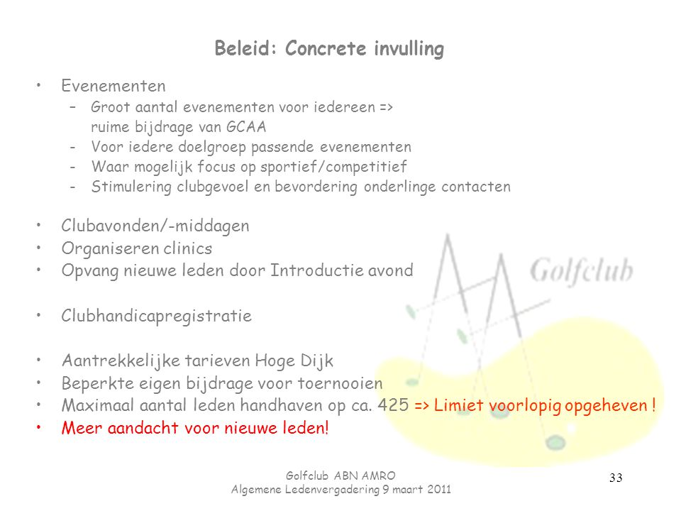 Beleid: Concrete invulling
