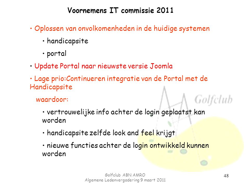 Voornemens IT commissie 2011
