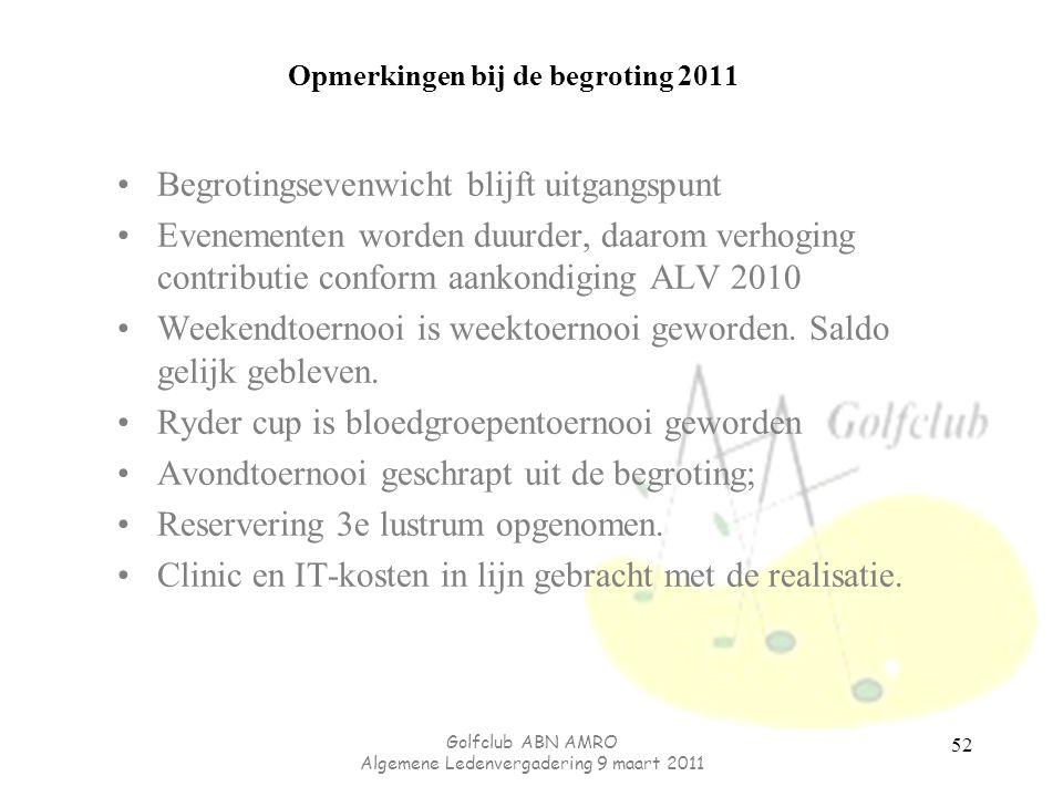 Opmerkingen bij de begroting 2011