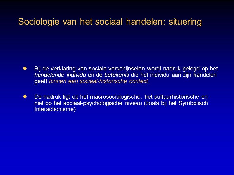 Sociologie van het sociaal handelen: situering