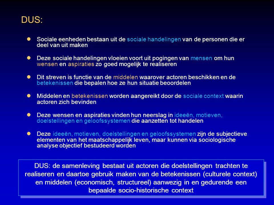 DUS: Sociale eenheden bestaan uit de sociale handelingen van de personen die er deel van uit maken.
