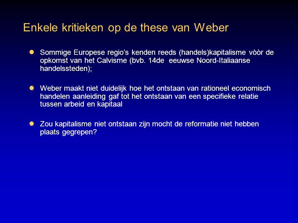 Enkele kritieken op de these van Weber
