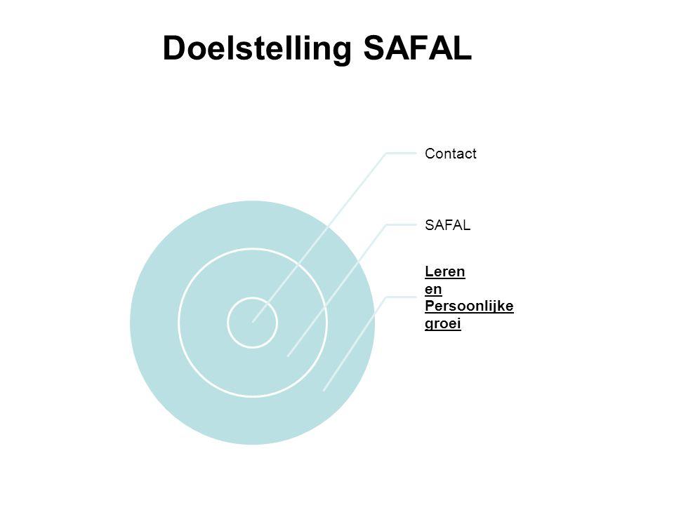 Doelstelling SAFAL Contact SAFAL Persoonlijke groei Leren en