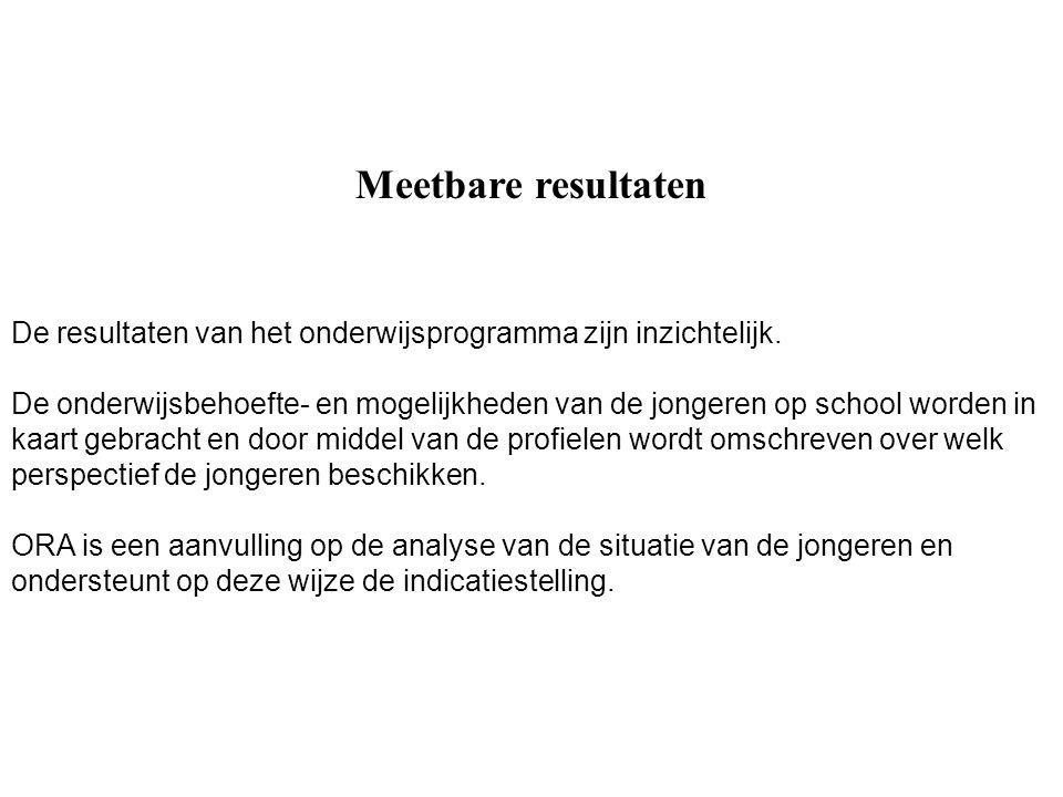Meetbare resultaten De resultaten van het onderwijsprogramma zijn inzichtelijk.