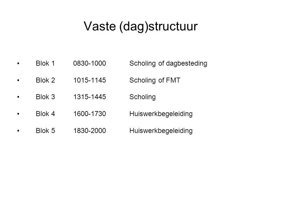 Vaste (dag)structuur Blok 1 0830-1000 Scholing of dagbesteding