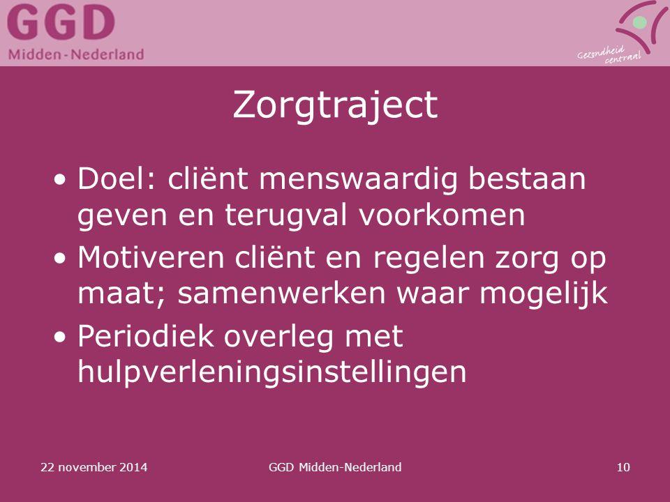 Zorgtraject Doel: cliënt menswaardig bestaan geven en terugval voorkomen. Motiveren cliënt en regelen zorg op maat; samenwerken waar mogelijk.