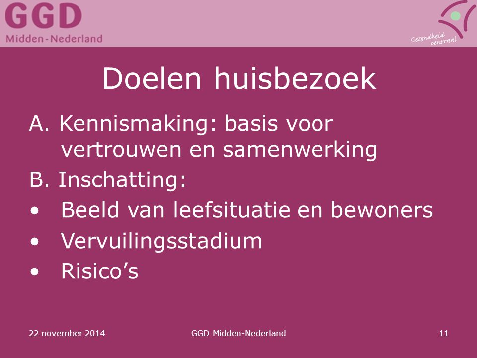 Doelen huisbezoek A. Kennismaking: basis voor vertrouwen en samenwerking. B. Inschatting: Beeld van leefsituatie en bewoners.