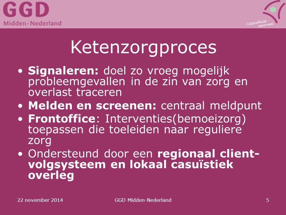 Ketenzorgproces Signaleren: doel zo vroeg mogelijk probleemgevallen in de zin van zorg en overlast traceren.